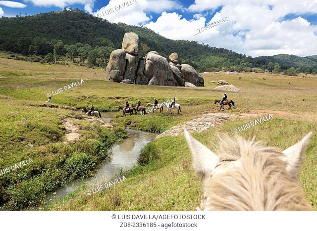 Las Piedrotas are huge rocks strewn about in piles on a grassy prairie. Located about 4 kilometers (2.45 miles) outside of Tapalpa on the road to Chiquilistlan
