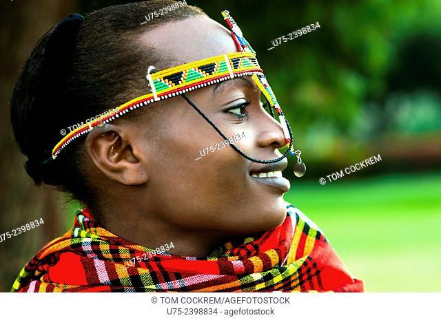 Young Kenyan woman in Maasai costume, Nairobi