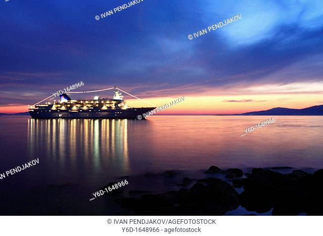 Ship at Mykonos Bay, Mykonos, Cyclades, Greece