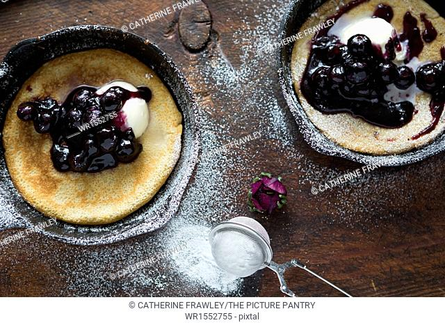 Blueberry and Mascarpone Pancakes in Skillets