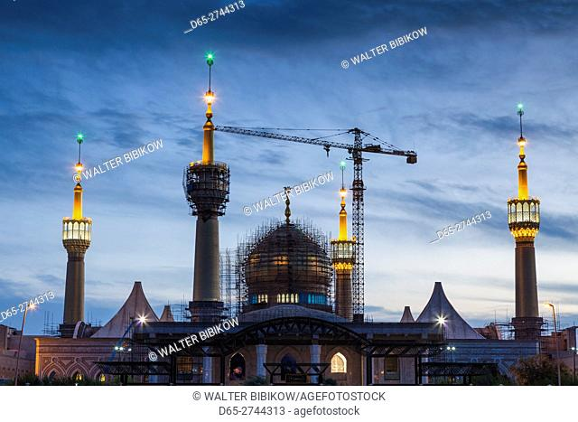 Iran, Tehran, Holy Shrine of Imam Khomeini, memorial mosque to religious leader of the Islamic Revolution, Ayatollah Khomeini, dusk