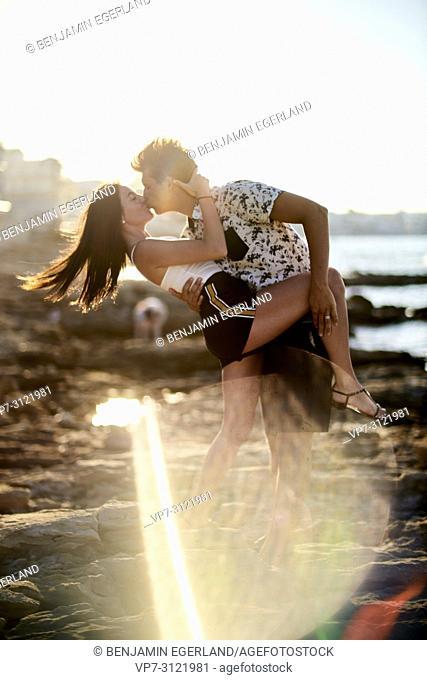 fears couple kissing, love, dancing, seaside, holiday. Chersonissos, Crete, Greece