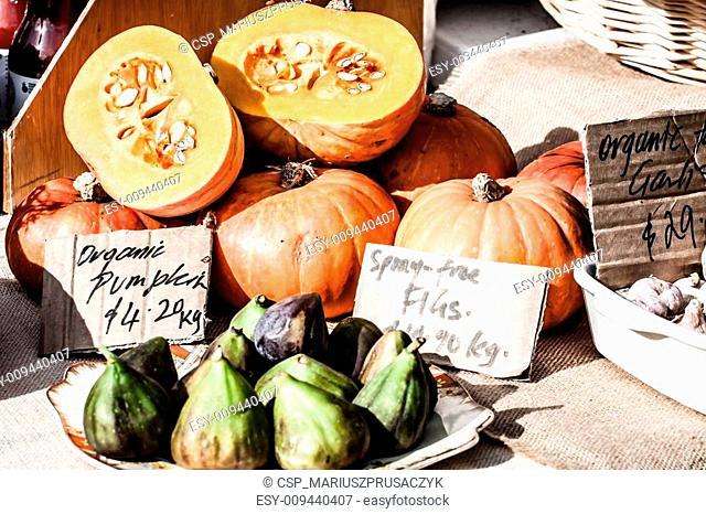 Pumpkins for sale at local Salamanca market, Hobart, Australia