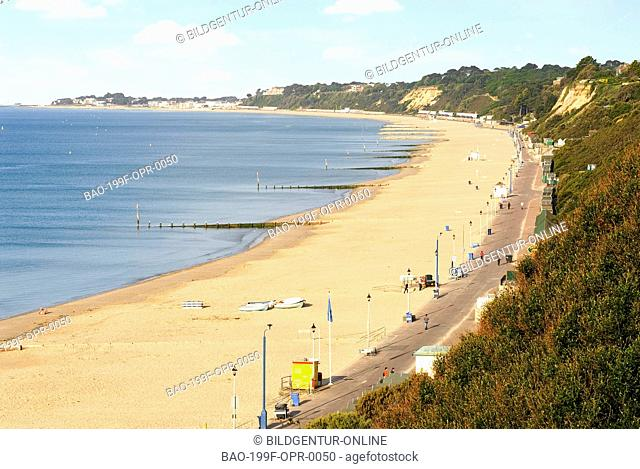 Image of locals and tourists at the wellknown popular beachside resort of Bournemouth in East Sussex, South England
