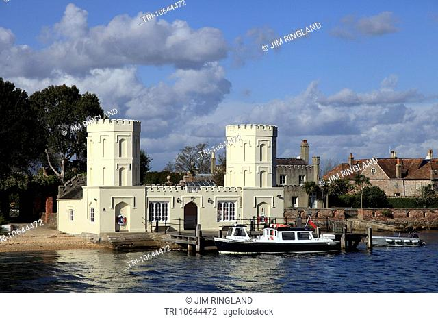 The castle and jetty at Brownsea Island, Poole Harbour, Dorset, England
