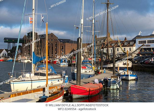 Boats at moorings in the harbour at Wells-next-the-Sea, Norfolk