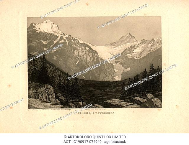 Schreck- & Wetterhorn., View of the Schreckhorn and the Wetterhorn with snow-covered peaks, according to p. 215, p. 201, Rüdisühli, J. L. (del. et imp