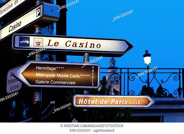 Sign showing the direction to the casino, Monte Carlo, Monaco, Europe