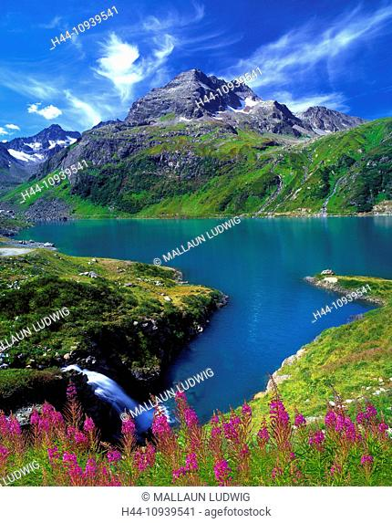 Austria, Europe, Tyrol, Arlberg, Saint Anton, St. Anton am Arlberg, Verwall, Verwall group, moss valley, lake, mountain lake, water, reservoir, energy industry