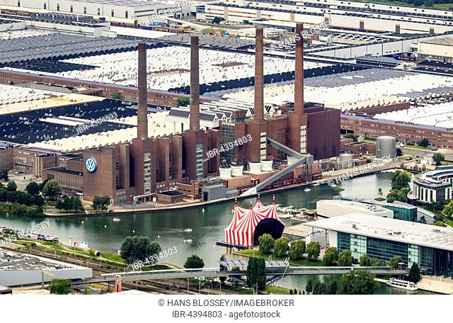 Aerial view, Volkswagen Wolfsburg plant with cogeneration VW South Street, Lower Saxony, Germany