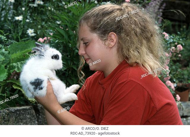Girl with Dwarf Rabbit young