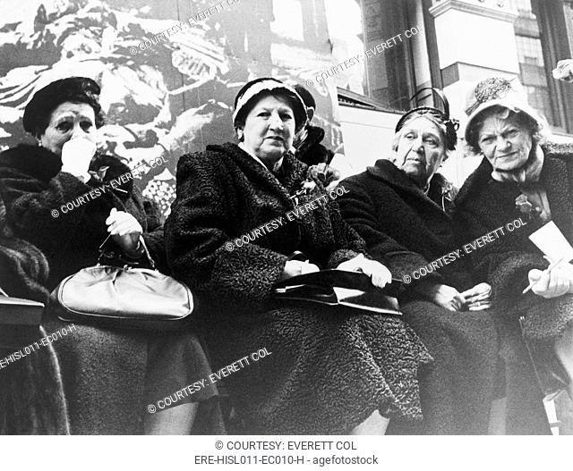 Survivors of the Triangle Shirtwaist Company fire at a commemoration ceremony organized by New York City and the International Ladies' Garment Workers' Union on...