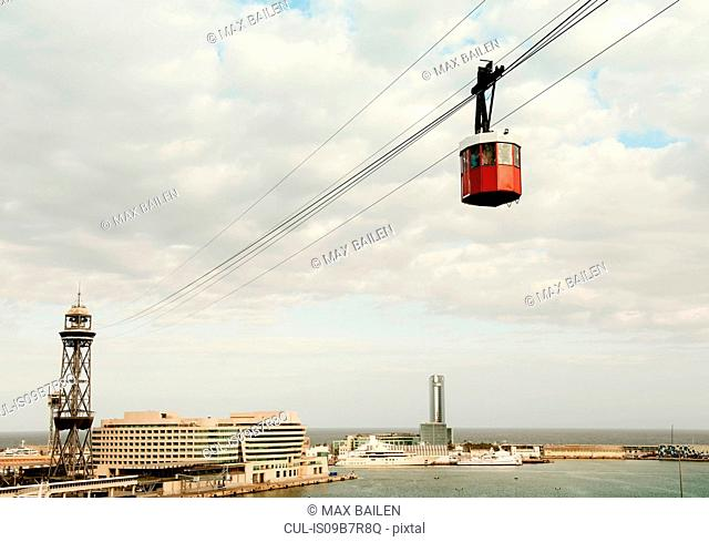 Elevated view of harbour and cable car, Barcelona, Spain