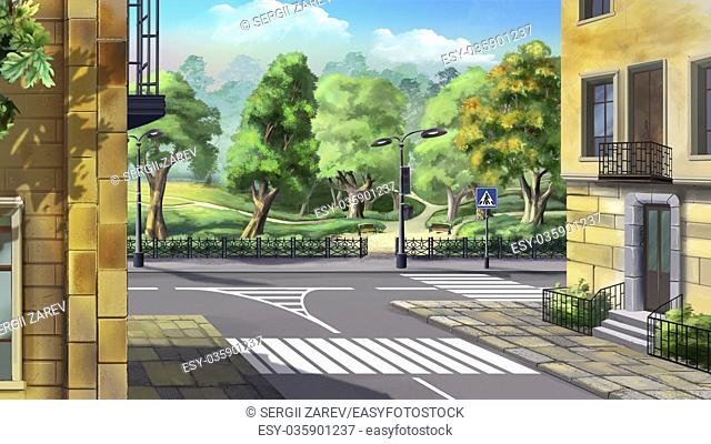 Digital painting of the Crossroad on the background of the city garden