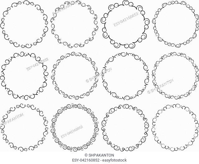 Set of dozen black round frames for your design