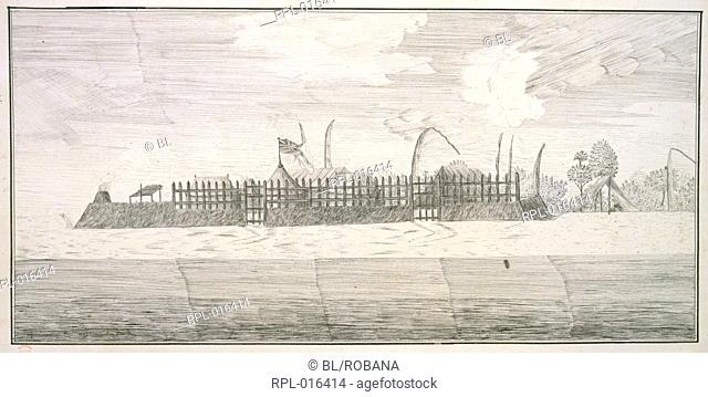 View of Fort Venus, Otaheite, Drawing No.5 View of Fort Venus, Tahiti, after a drawing by H.D. Sporing. January-July 1771 Image taken from Drawings illustrative...
