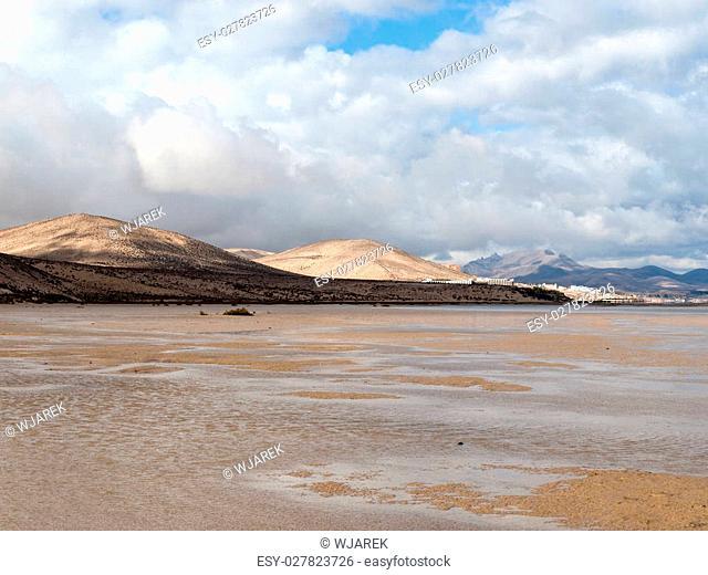 The famous lagoon in Risco El Paso at Playas de Sotavento, Fuerteventura