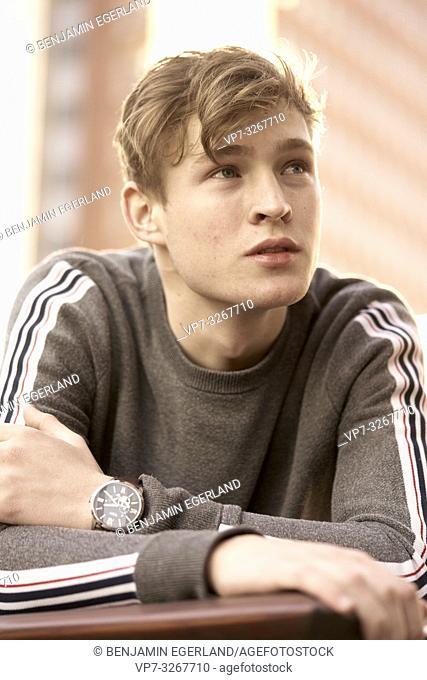 young model man looking away, in Hamburg, Germany