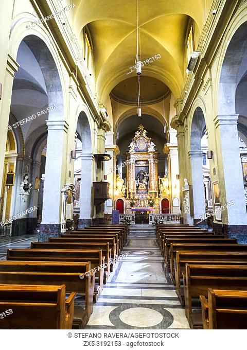 Nave of San Francesco a Ripa church in Trastevere - Rome, Italy