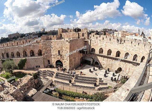 Citadel (Tower of David) with the archaeological finds in its courtyard, Jerusalem, Israel