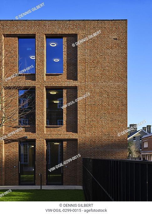 Side light on building facade. Newnham College, Cambridge, Cambridge, United Kingdom. Architect: Walters and Cohen Ltd, 2018
