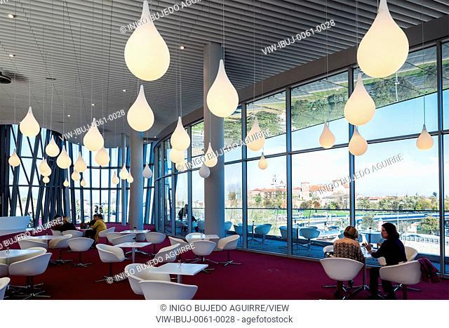 Cafe and lounge area with views towards historic Krakow. ICE Krakow Congress Center, Kraków, Poland. Architect: Ingarden & Ewy, Ararta Isozaki, 2014