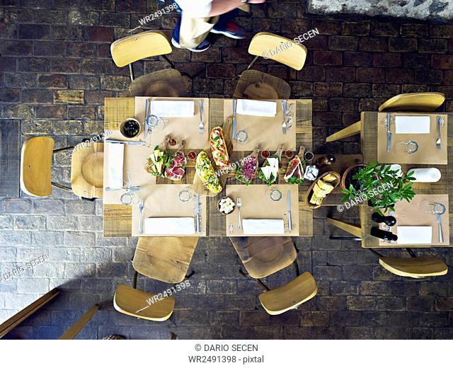 Table with place setting in oil bar and restaurant