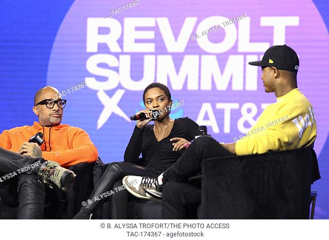 (L-R) Telling Our Stories (Black Hollywood) panel with Kenya Barris, China Anne McClain and Terrence J at the Revolt Summit x AT&T LA on October 25