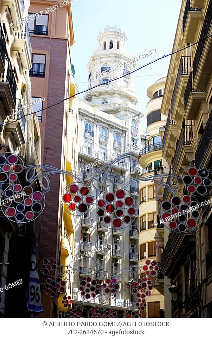 building with street light decorations, valencia, Spain