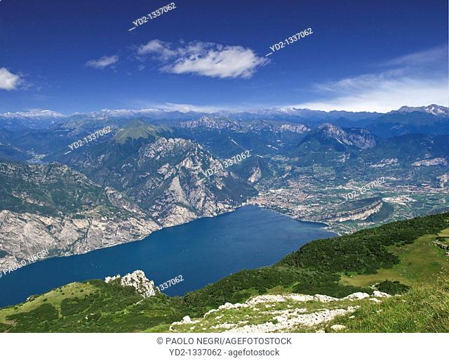 Italy, Lake of Garda, Riva del Garda, view from Monte Baldo