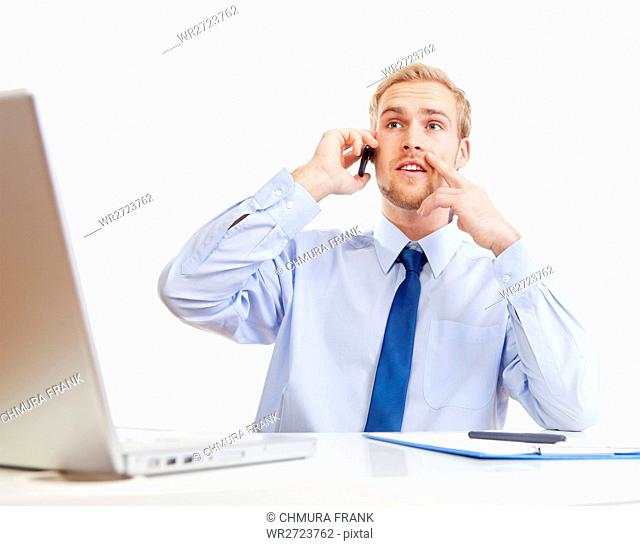 adult, blue, business, businessman, call, Caucasian, cell, communication, computer, corporate, desk, executive, handsome, laptop, male, man, manager, mobile
