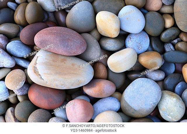 Pebbles, beach of Los Caballos, Miengo, Cantabria, Spain