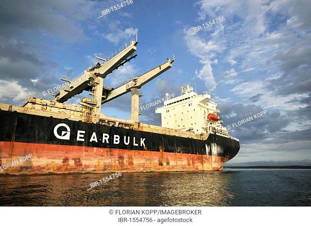Cargo ship in the seaport of Buenaventura on Colombia's Pacific coast, Buenaventura, Valle del Cauca, Colombia, South America