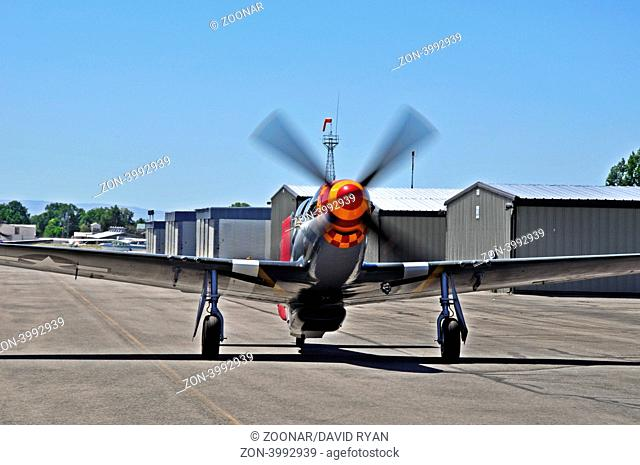 Speedball Alice, P-51D WW2 Fighter Aircraft taxiing at Nampa Airport