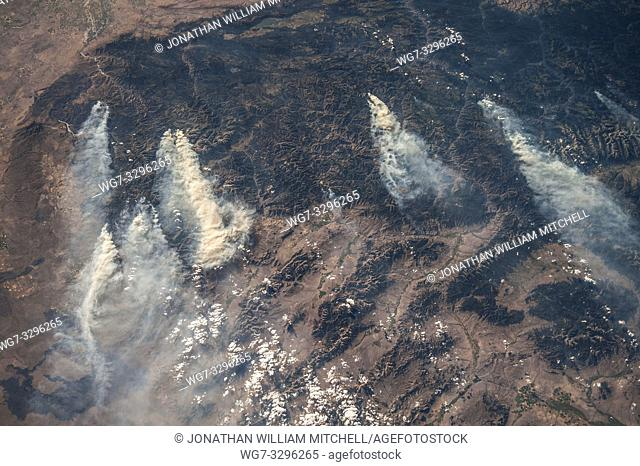 EARTH USA Idaho --18 Aug 2013 -- Central Idaho wildfires as seen by an astronaut on the International Space Station. Thousands of acres of forest have been...