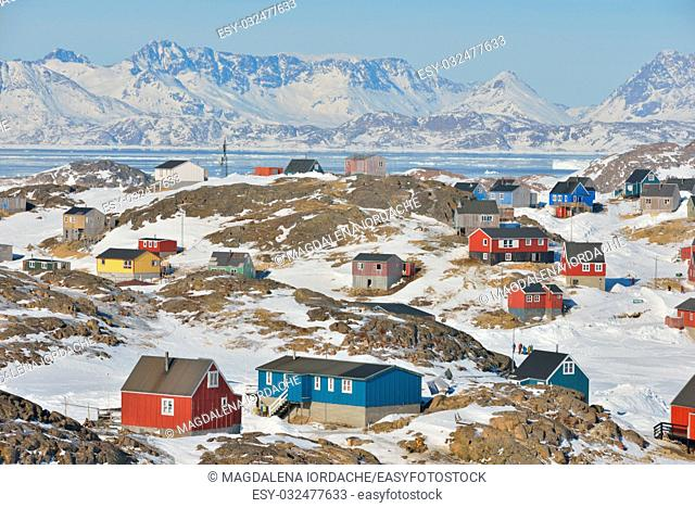 Colorful houses in spring time in Greenland