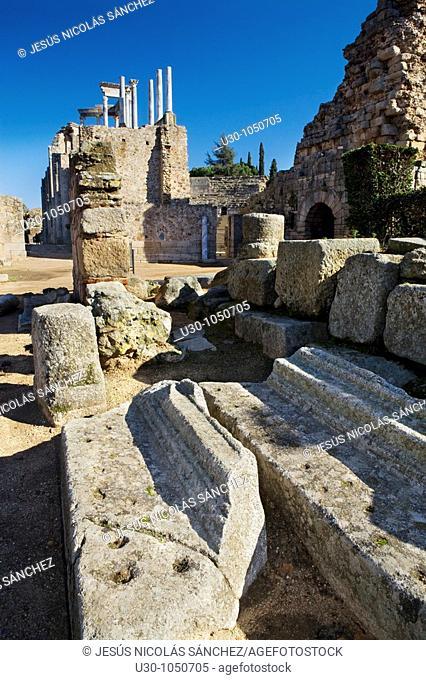Overview of Roman theatre of Mérida city, in Badajoz province  Extremadura  Spain