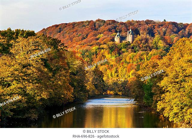 Castle Coch (Castell Coch) (The Red Castle) in autumn, Tongwynlais, Cardiff, Wales, United Kingdom, Europe