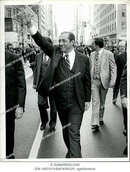 Oct. 10, 1982 - Italian Americans celebrated Columbus Day in New York with a March up Fifth Avenue. With three weeks left till election day it wouldn't be a...