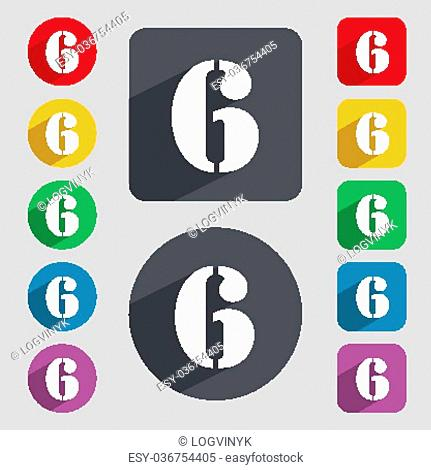 number six icon sign. Set of coloured buttons. Vector illustration