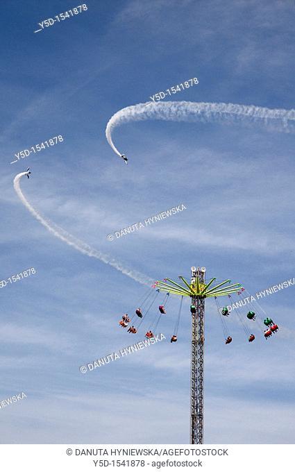 air show, planes flying around carousel, Geneva Days, Geneva, Switzerland