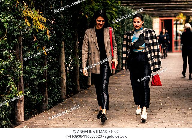 Chic showgoers attending Mercedes-Benz Fashion Week in Tbilisi, Georgia - Nov 1, 2018 - Photo: Runway Manhattan ***For Editorial Use Only***   Verwendung...