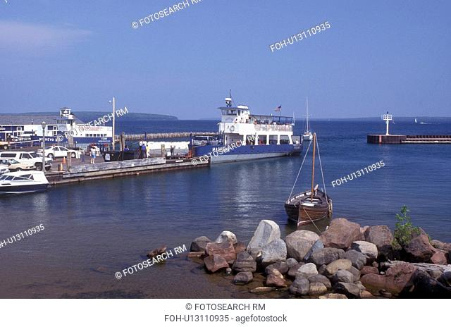 Wisconsin, Bayfield, Madeline Island Ferry docked in harbor at Bayfield on Lake Superior