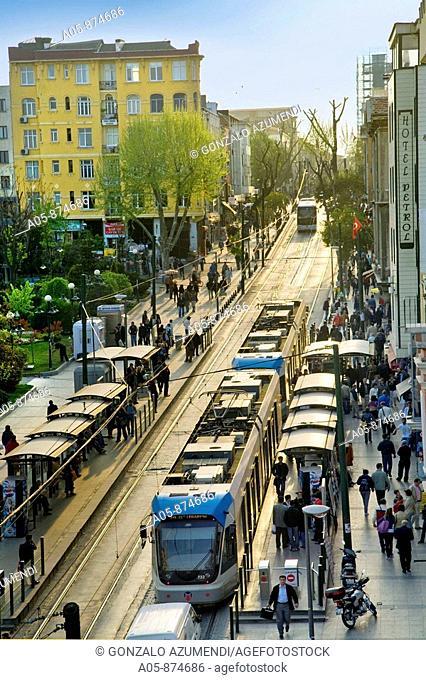 Divan Yolu Street, trams in Sultanahmet, Istanbul, Turkey