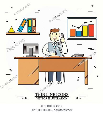 Office man , Business man. Thin line icon for web and mobile. Vector