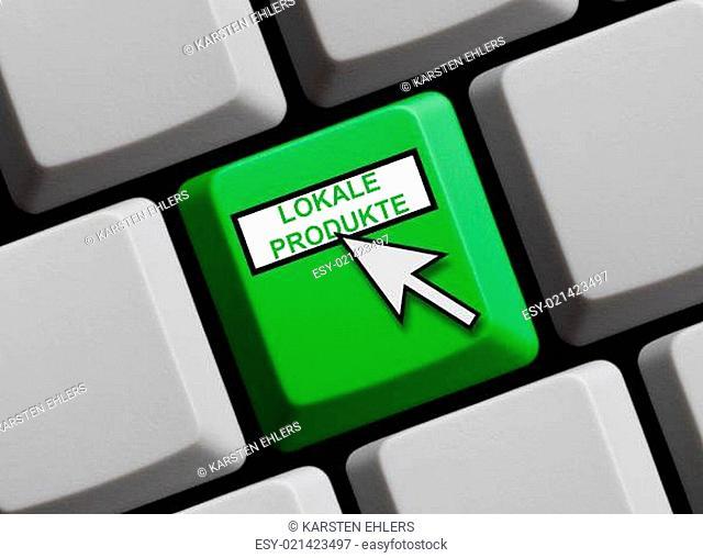 Grüne Tastatur mit Mauspfeil zeigt Lokale Produkte