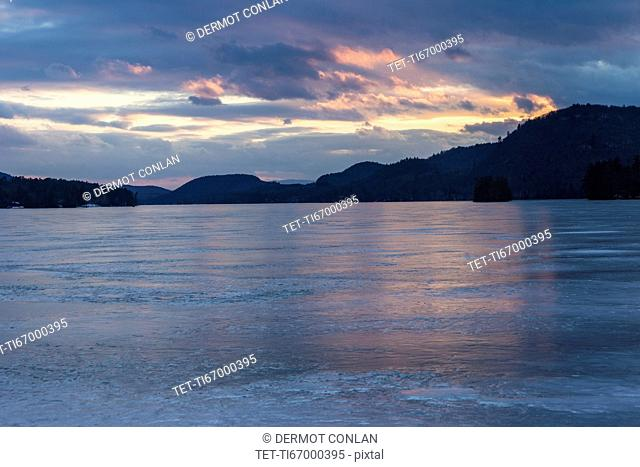 Brant Lake in Adirondack region at dusk