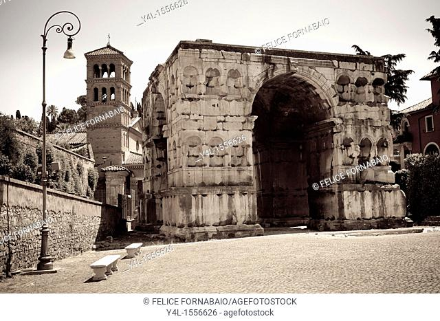 Arch of Janus, San Giorgio in Velabro, and Lamp, Rome, Italy