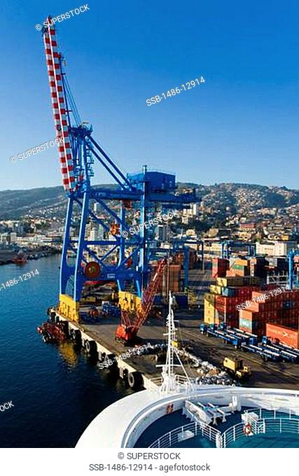 Crane and cargo containers at a commercial dock, Valparaiso, Chile