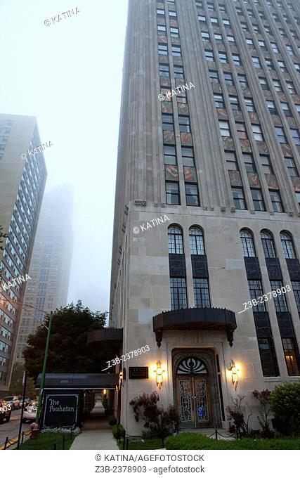The Powhatan, or Powhatan Apartments, a 22-story, luxury, Art Deco apartment building overlooking Lake Michigan and adjacent to Burnham Park in the Kenwood...